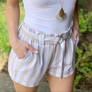 Khaki striped linen shorts